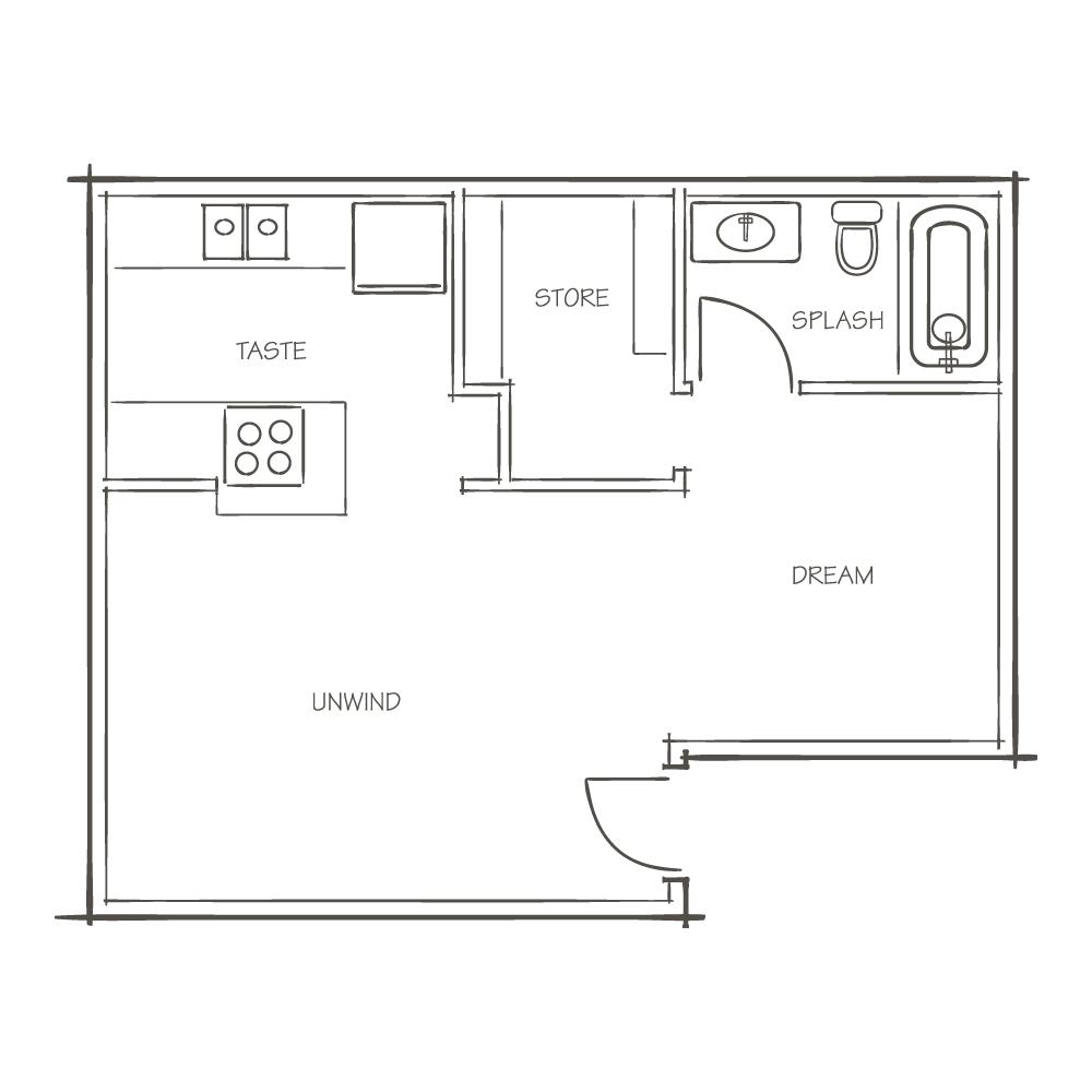 A1 / Studio The Nook Floor Plan