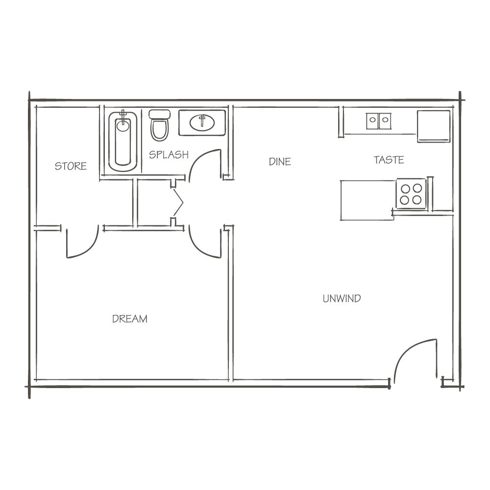A2 / 1X1 - The Den Floor Plan